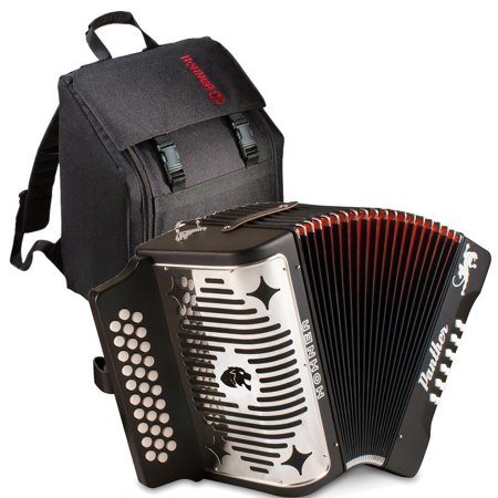 Hohner Panther 3100GB G/C/F 3-Row Diatonic Accordion with Gig Bag - Book - Cloth GCF Black