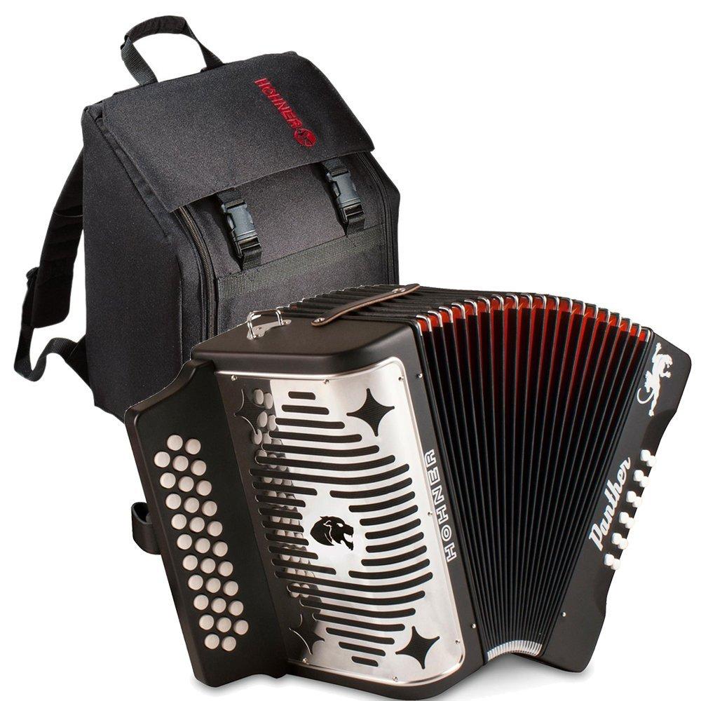 Hohner Panther 3100GB G/C/F 3-Row Diatonic Accordion with Gig Bag - Book - Cloth GCF Black