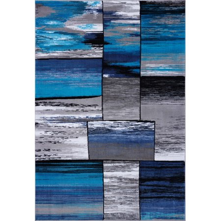 Ladole Rugs Copper Collection Abstract Beautiful Made in Europe Indoor Area Rug Carpet in Grey and Turquoise, 4x6 (3'11