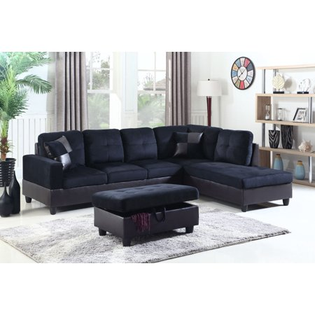 Awesome Greg Right Facing Sectional Sofa With Ottoman Midnight Blue Beatyapartments Chair Design Images Beatyapartmentscom