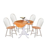 5 Piece Cottage Style Dining Set with Dining Chairs and Dining Table in White and Natural