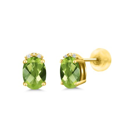 1.73 Ct Oval Checkerboard Green Peridot White Diamond 10K Yellow Gold (Mystic Topaz Checkerboard)