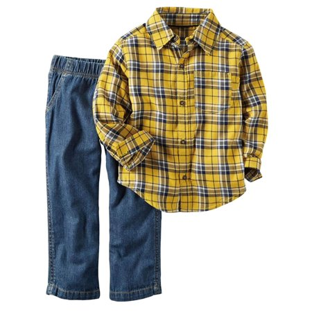 Carters Infant Boys 2-Piece Yellow Plaid Shirt & Denim Pant Set