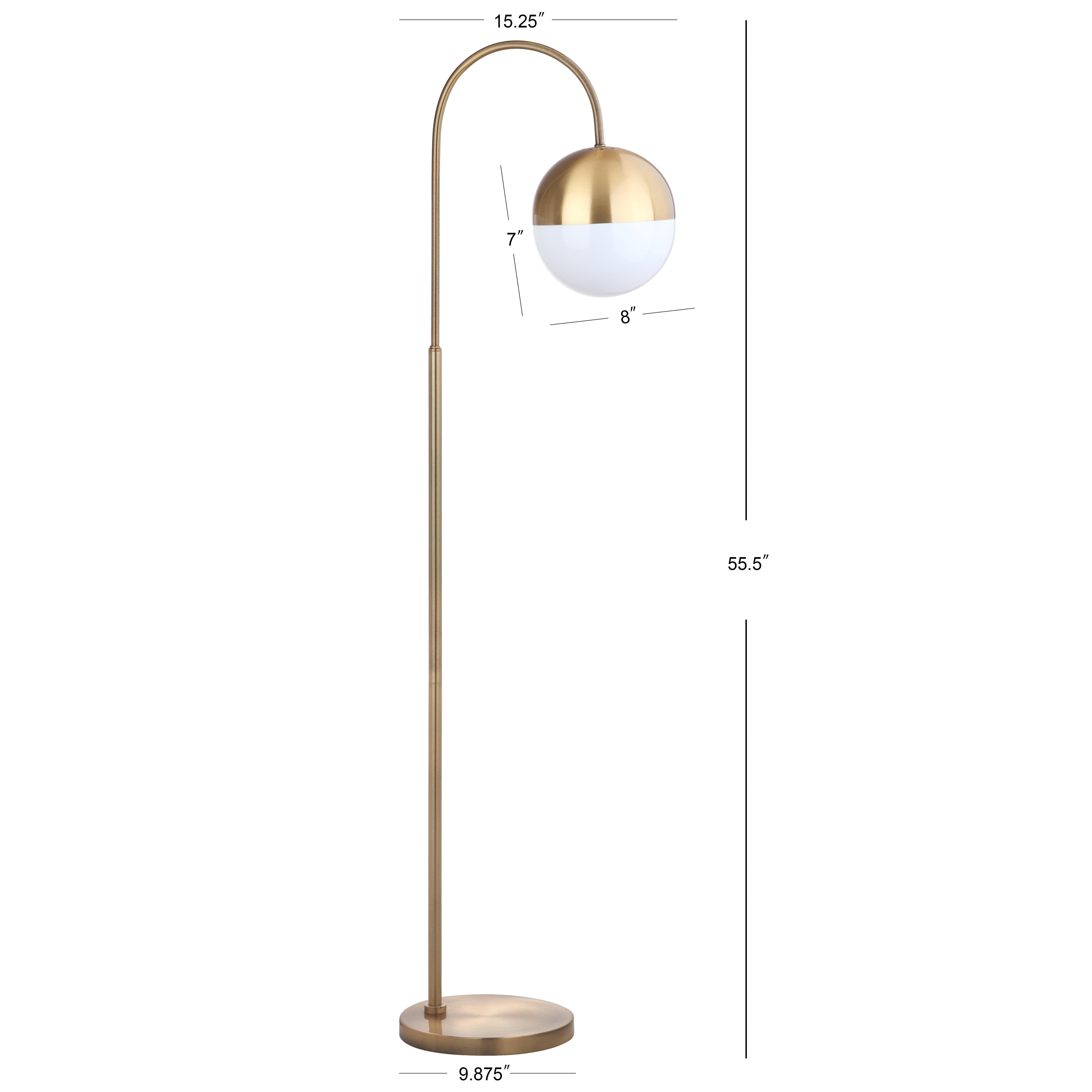 Safavieh Jonas 55 5 In H Modern Glam Curved Floor Lamp Brass