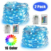 EEEKit 2/1Pcs LED Strip Lights, 16ft/32ft 50LED Battery Powered Multi Color Copper String Lights, Waterproof IP44 Decor Fairy String Lights with Remote Control for Outdoor Garden Indoor Bedroom