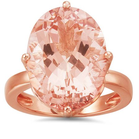 18x13mm Large Oval Morganite Vintage Style Ring 14K Rose Gold - image 2 de 2