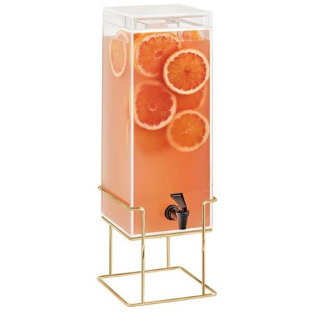 Cal Mil 22002-3-46 Mid Century 3 gal Square Beverage Dispenser with Ice Chamber & Brass Wire Base - 8.125 x 9.75 x 25.75 in. ()