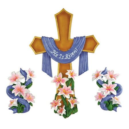- Easter He Is Risen Wall Cross - 3pc, Multi