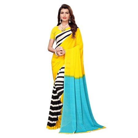 ANNI DESIGNER georgette with blouse piece Saree (JESSI 3 Anni_ Yellow (3 Piece Blouse)