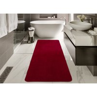 Ottomanson Softy Collection Color Solid Non-Slip Rubber Back Kitchen/Bathroom Runner Rug and Mat