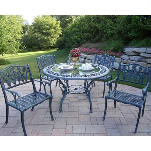 Oakland Living Mississippi Cast Aluminum 48 in. Glass Top Tulip Patio Dining Set - Seats 4