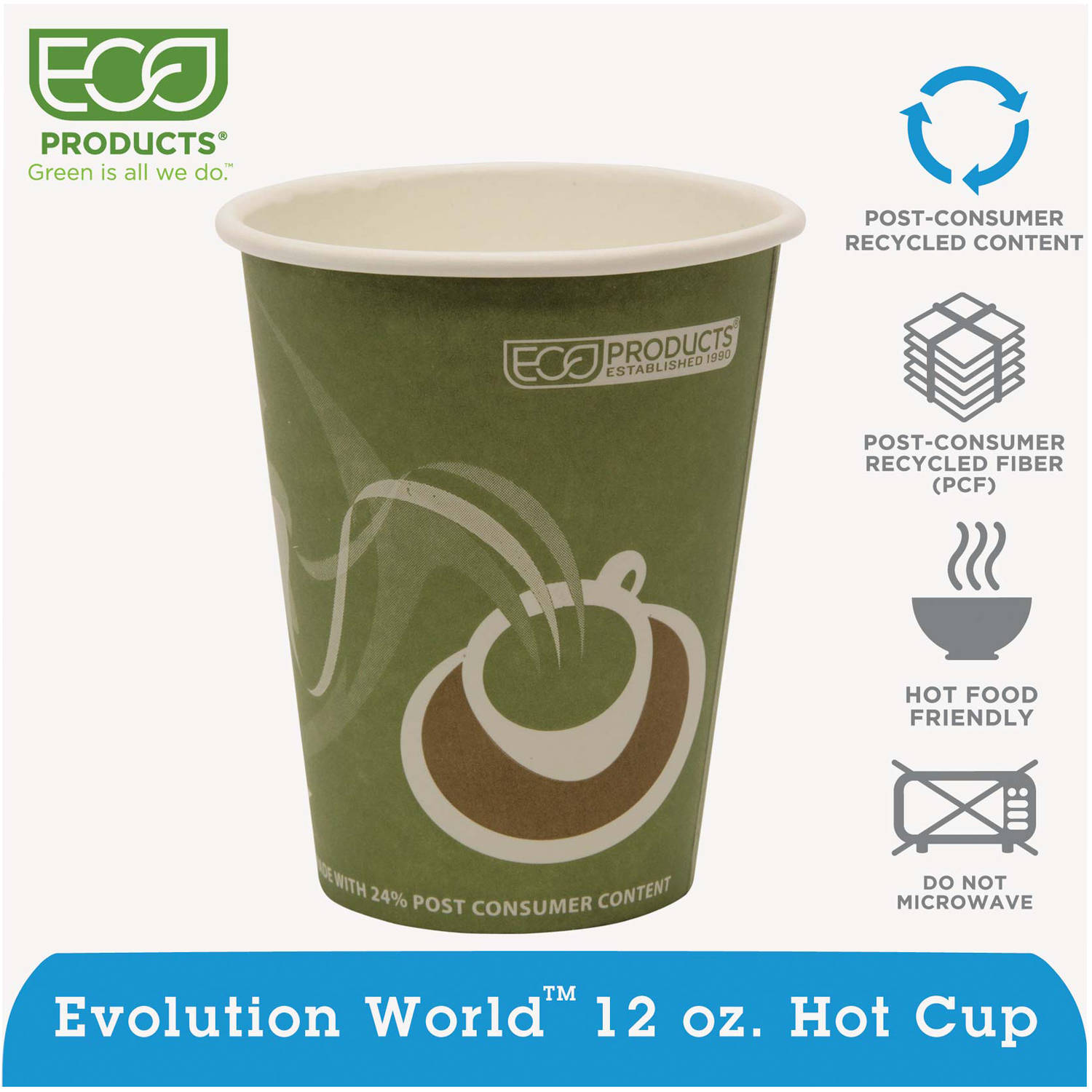 Eco-Products Evolution World 12 Oz Hot Cups, 20 Packs of 50, 1000 Cups Total