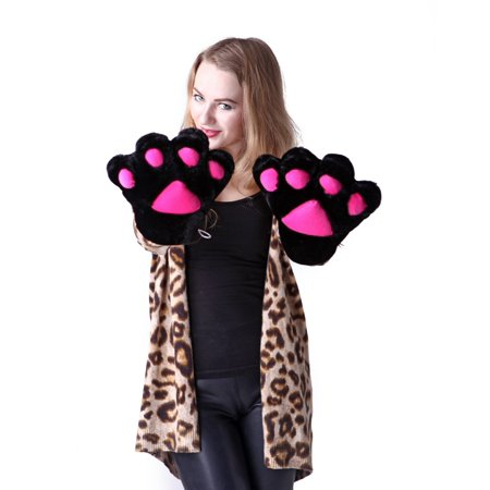 Cute Cat Costumes (HDE Adult Halloween Costume Cosplay Cute Soft Kitty Cat Girl Paw Gloves)