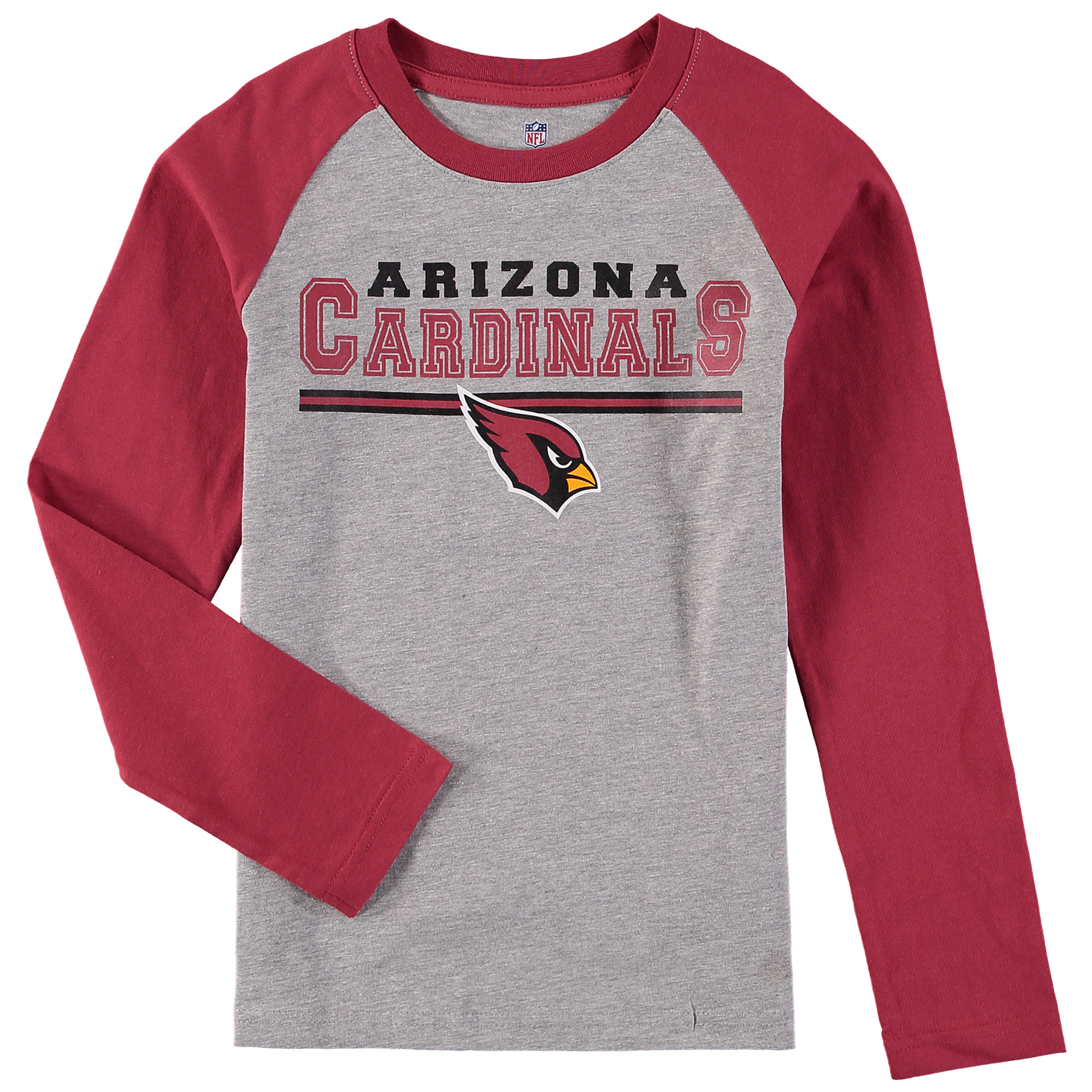 Arizona Cardinals Youth Fan Gear Field Line Long Sleeve Raglan T-Shirt - Heathered Gray/Cardinal
