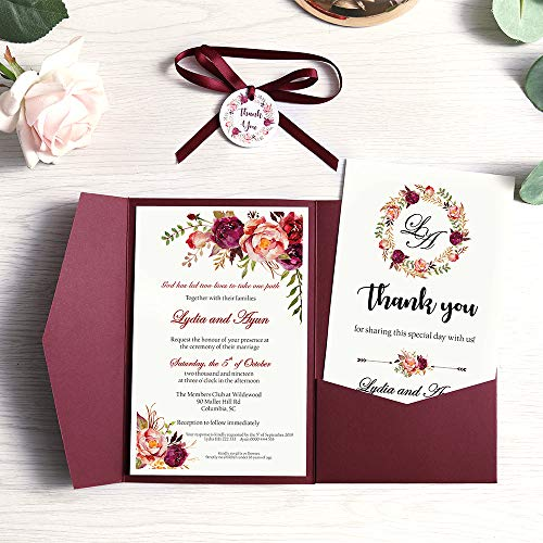 Doris Home Tri Fold Wedding Invitations For Bridal Shower Dinner Beach Theme Party With Ribbon And Tags Dh0001 Burgundy 25pcs Blank Walmart Canada