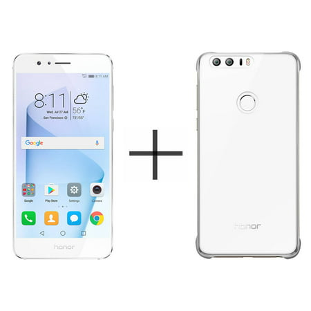 HUAWEI Honor 8 64GB Unlocked GSM 4G LTE Quad-Core Android Phone w/ 12MP  Dual Lens Camera - Pearl White + HUAWEI Honor 8 PC Case - White