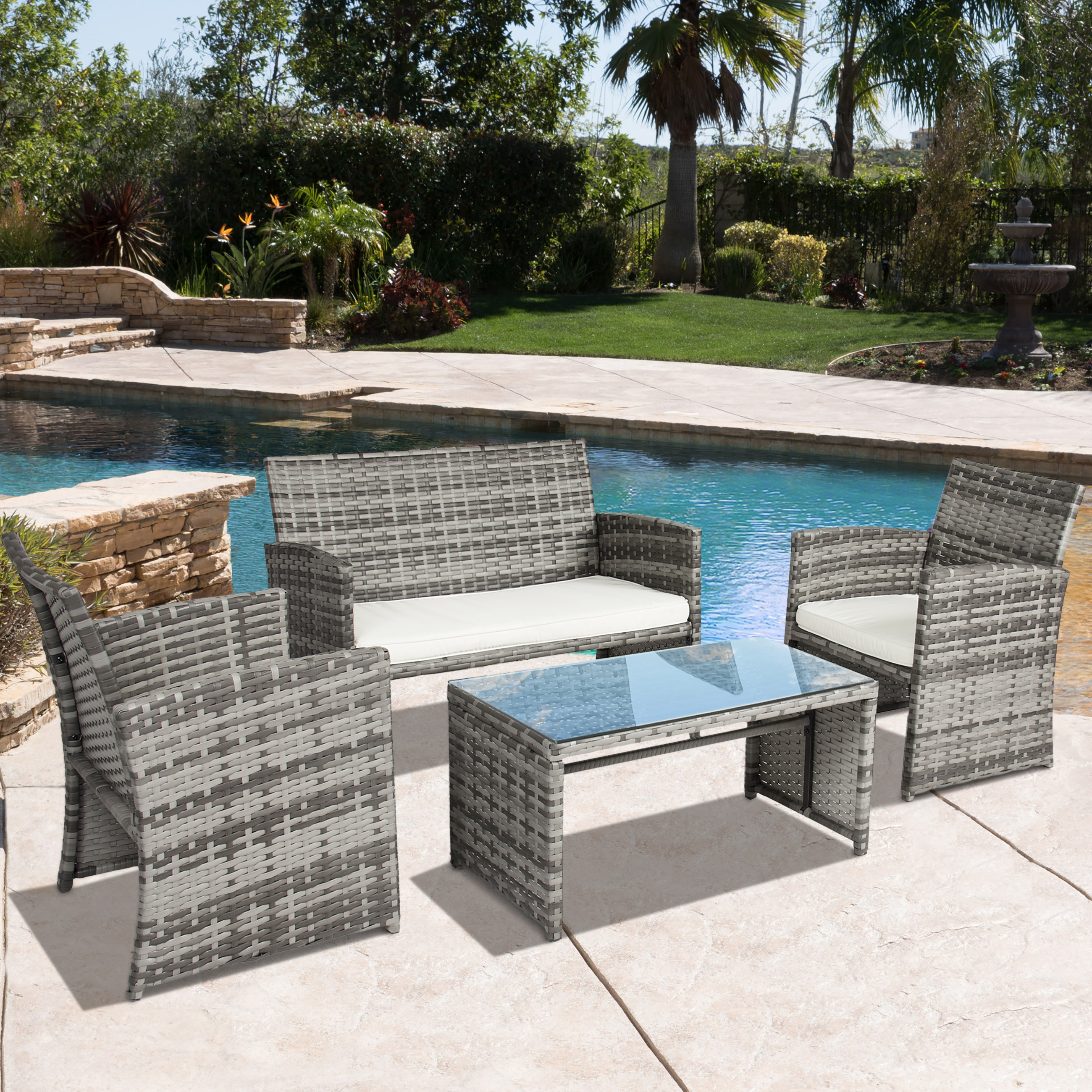 best choice products outdoor patio furniture cushioned 4 piece wicker sofa coversation set gray
