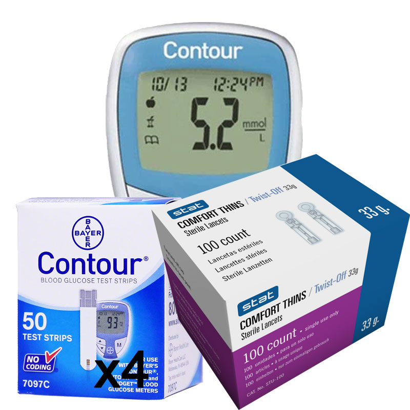 Ascensia Bayer Contour 200 Test Strips With Contour Meter kit and Lancets 100ct COMBO