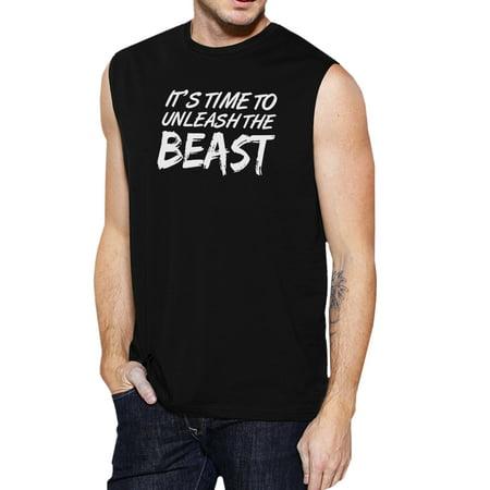 Unleash Beast Mens Black Gym Fitness Tank Top Humorous Muscle Shirt
