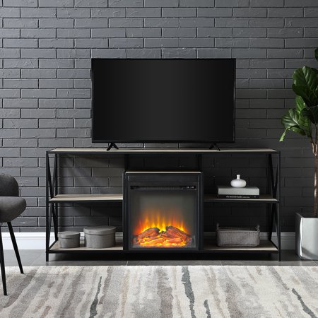 Design Fireplace - Manor Park Industrial Fireplace TV Stand for TV's up to 66
