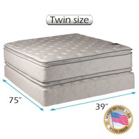 Natural Dream - (Twin Size) Mattress set Bed Frame Included -Medium Soft PillowTop 2-Sided Sleep System with Enhanced Cushion Support- Fully Assembled, Back Support, Longlasting by Dream Solutions USA