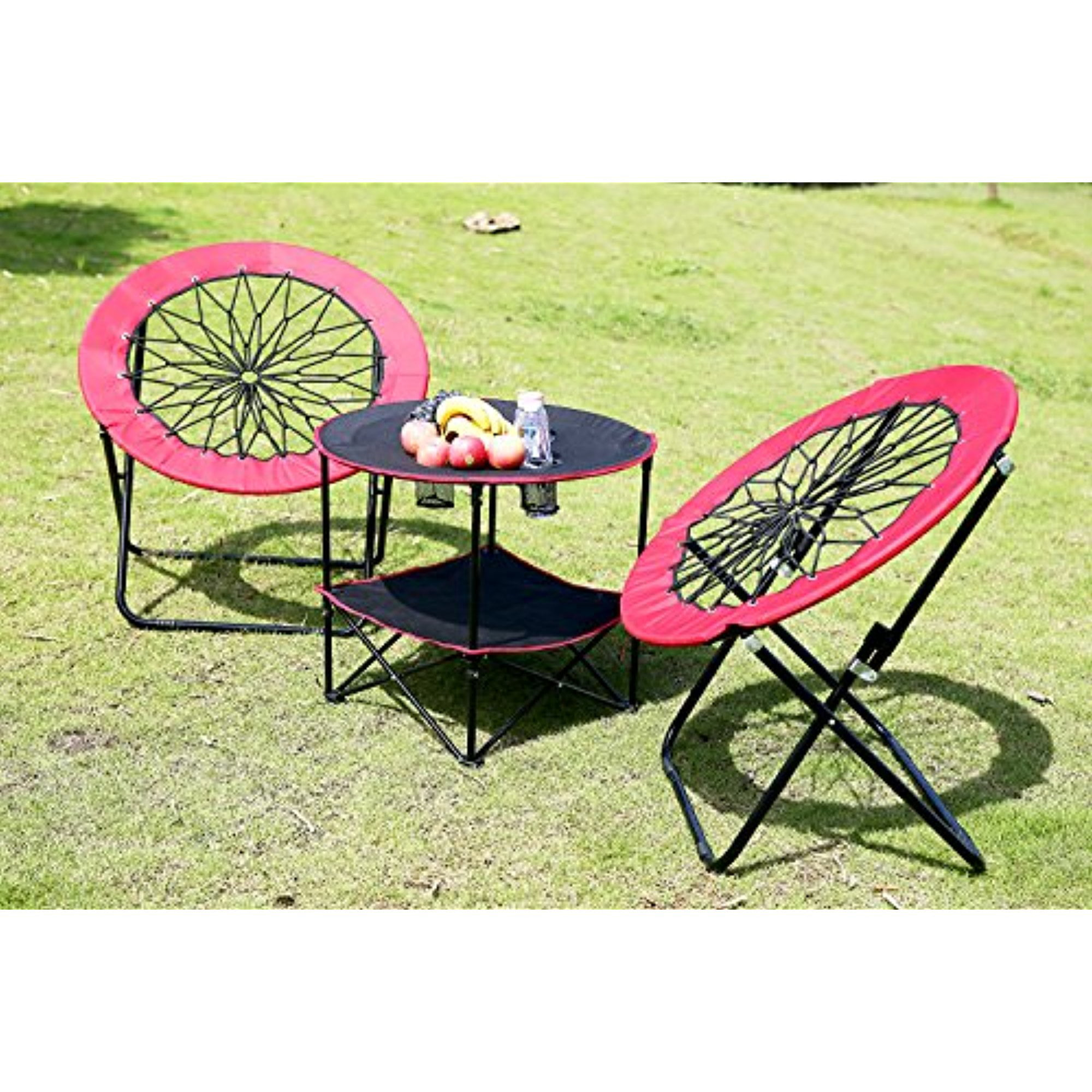 Portable Folding Round Picnic Table and Bungee Dish Chairs 3-in-1 with Mesh Drink Holders Outdoor Camping Table Beach... by Anleolife