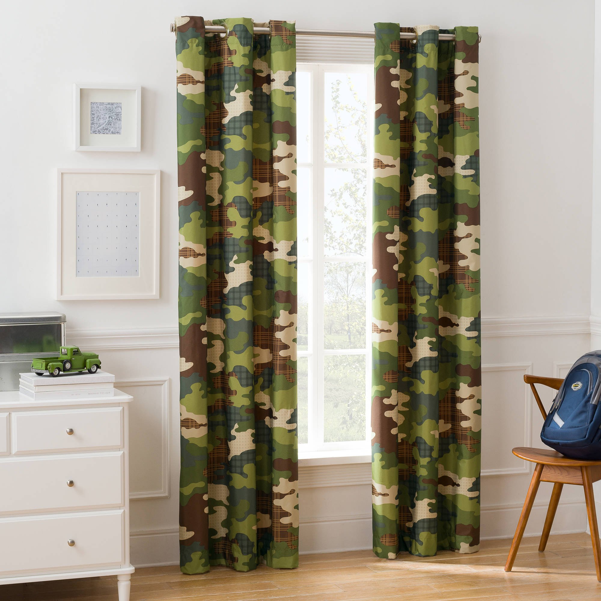 Mainstays Camouflage Boys Room Darkening Bedroom Curtain