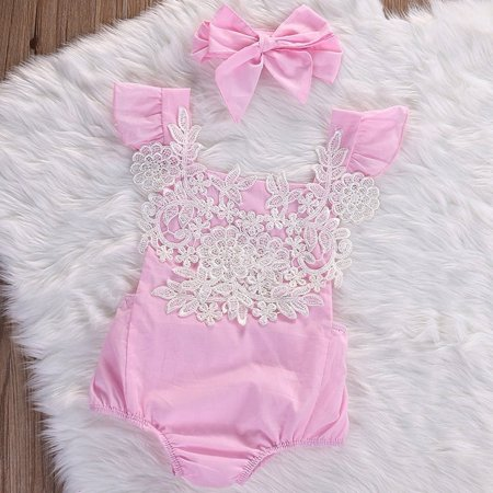 44ee1c4e42a8 Newborn Toddler Baby Girls Rompers Lace Floral Bodysuit Jumpsuit ...