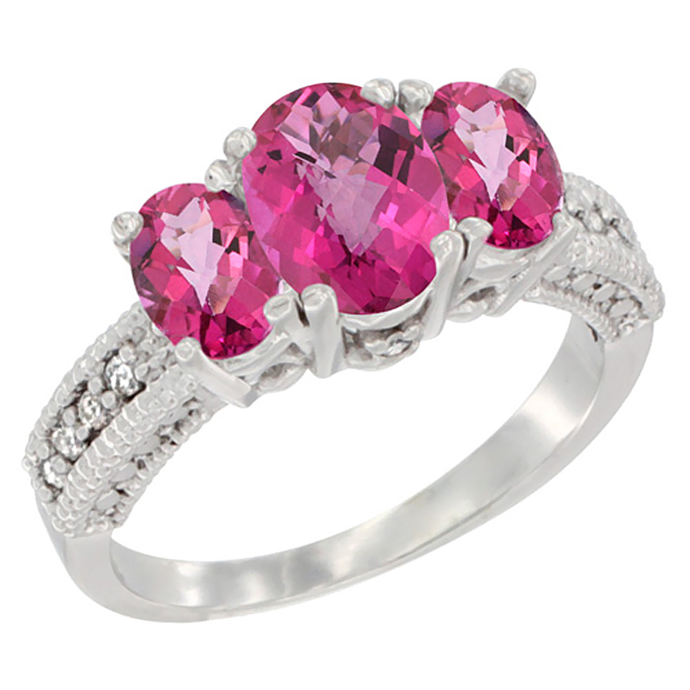 10K White Gold Diamond Natural Pink Topaz Ring Oval 3-stone, sizes 5 ...