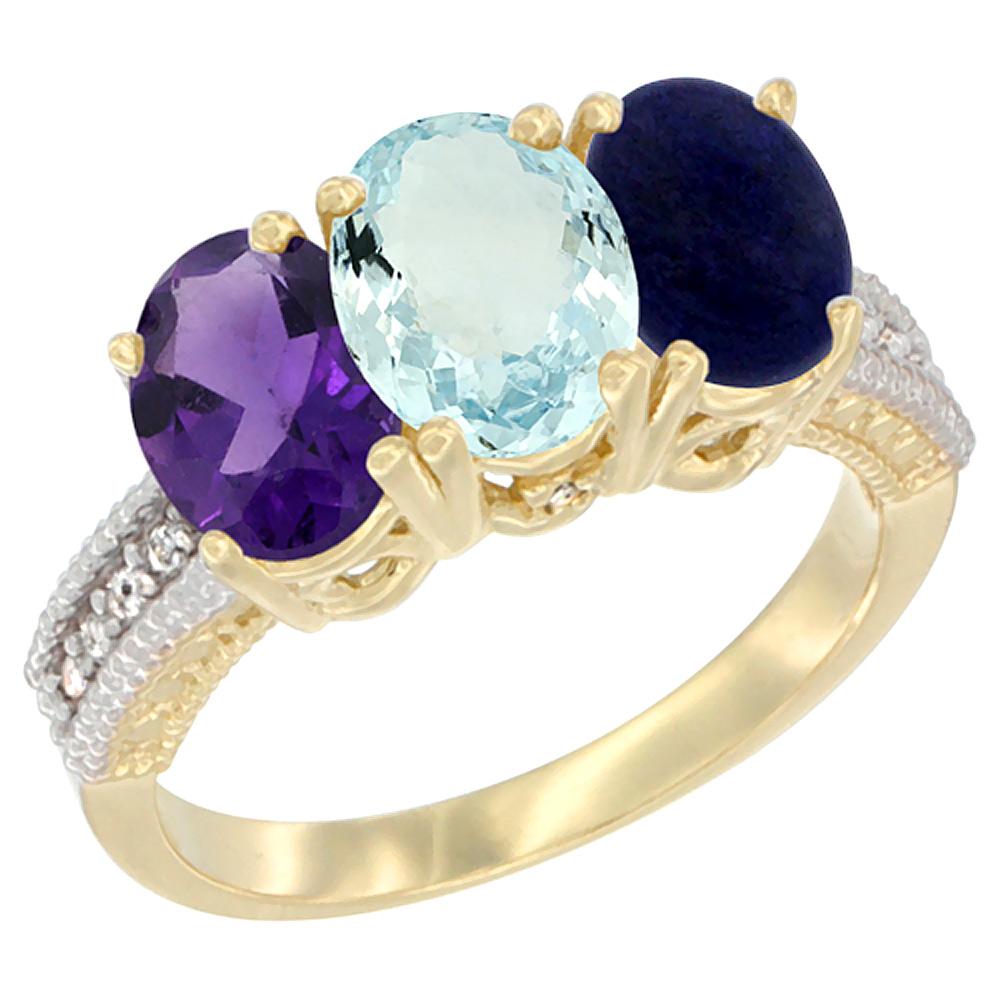 14K Yellow Gold Natural Amethyst, Aquamarine & Lapis Ring 3-Stone 7x5 mm Oval Diamond Accent, sizes 5 - 10