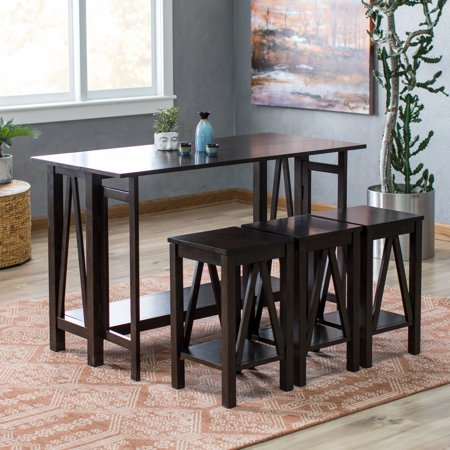 Belham Living Archer Espresso Drop Leaf Kitchen Table Set With 3 Stools