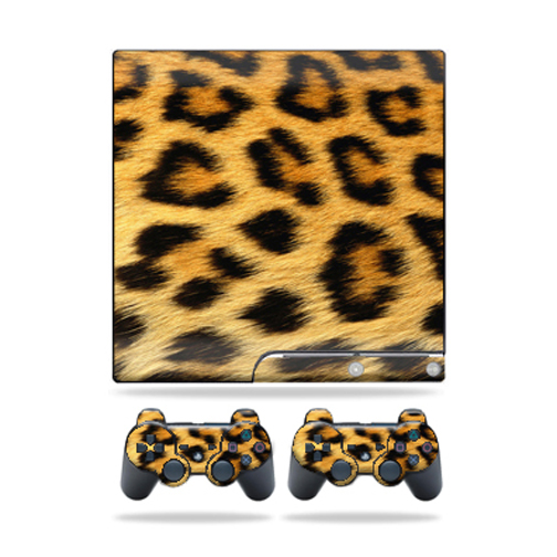 Skin Decal for Sony Playstation 3 PS3 Slim + 2 controllers sticker Cheetah