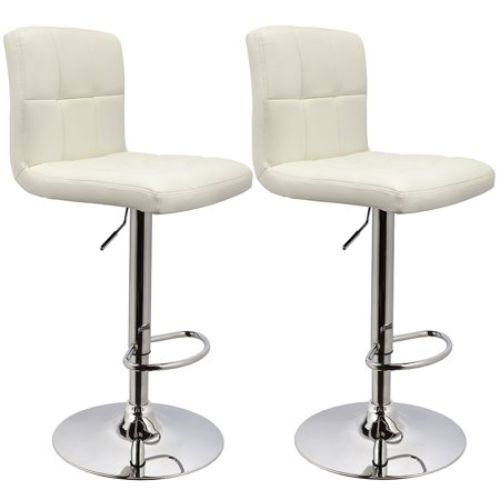 Bar Stool Duhome Modern Adjustable Swivel with Backrest Set of 2 Bar Chairs (White)