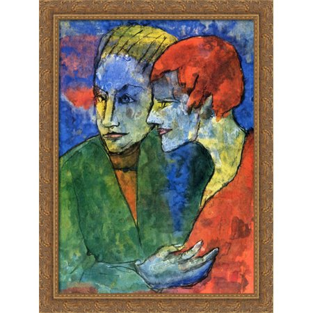 Young Couple 28x38 Large Gold Ornate Wood Framed Canvas Art by Emil Nolde