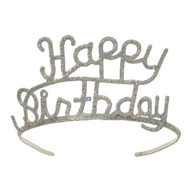 Beistle 60630 Glittered Metal Happy Birthday Tiara
