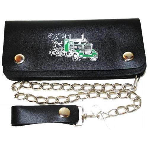 Leather In Chicago LICWB11-T-01 Bifold Chain Wallet 8 x 3. 75 inch Trucker Green