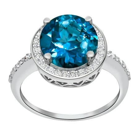 Orchid Jewelry Mfg Inc Sterling Silver 3.03 Ct Simulated Paraiba Tourmaline,Diamond Halo Ring - Blue 7