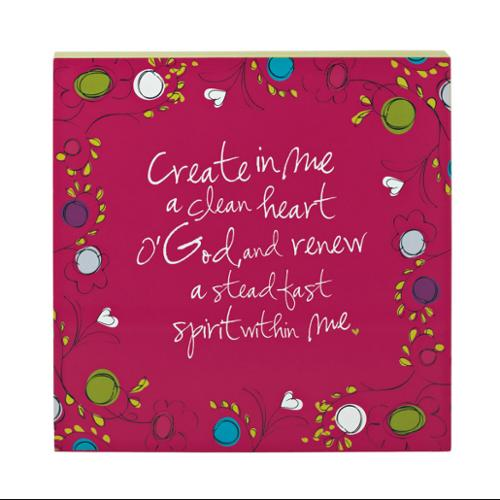 "Pack of 2 Pink Religious ""Create In Me A Clean Heart O'God"" Home Wall Decor 12"""