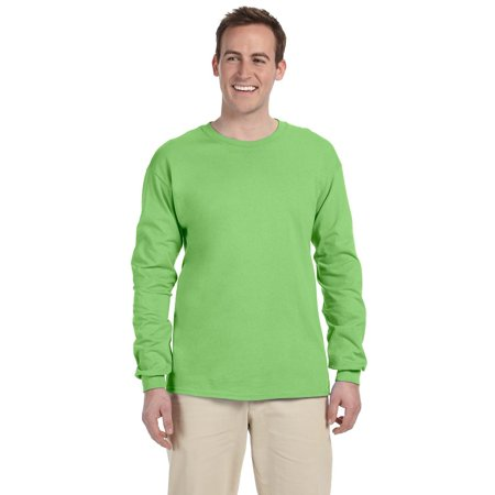 Branded Fruit of the Loom Adult 5 oz HD Cotton Long Sleeve T-Shirt - KIWI - 3XL (Instant Saving 5% & more)