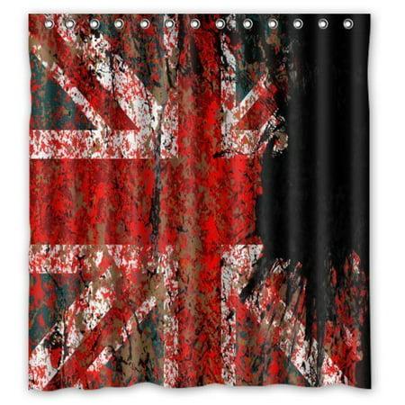 HelloDecor Union Jack Flag on the Brick Walls Shower Curtain Polyester Fabric Bathroom Decorative Curtain Size 66x72 - Shower Wall Union