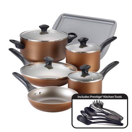 farberware dishwasher safe nonstick aluminum 15 piece cookware set copper. Black Bedroom Furniture Sets. Home Design Ideas