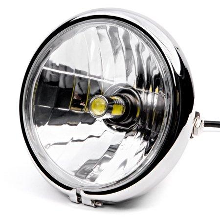 "Krator 6"" Chrome LED Motorcycle Headlight w/ Side Mounting Running Light High / Lo Beam for Harley Davidson Road King Custom Classic - image 6 of 6"