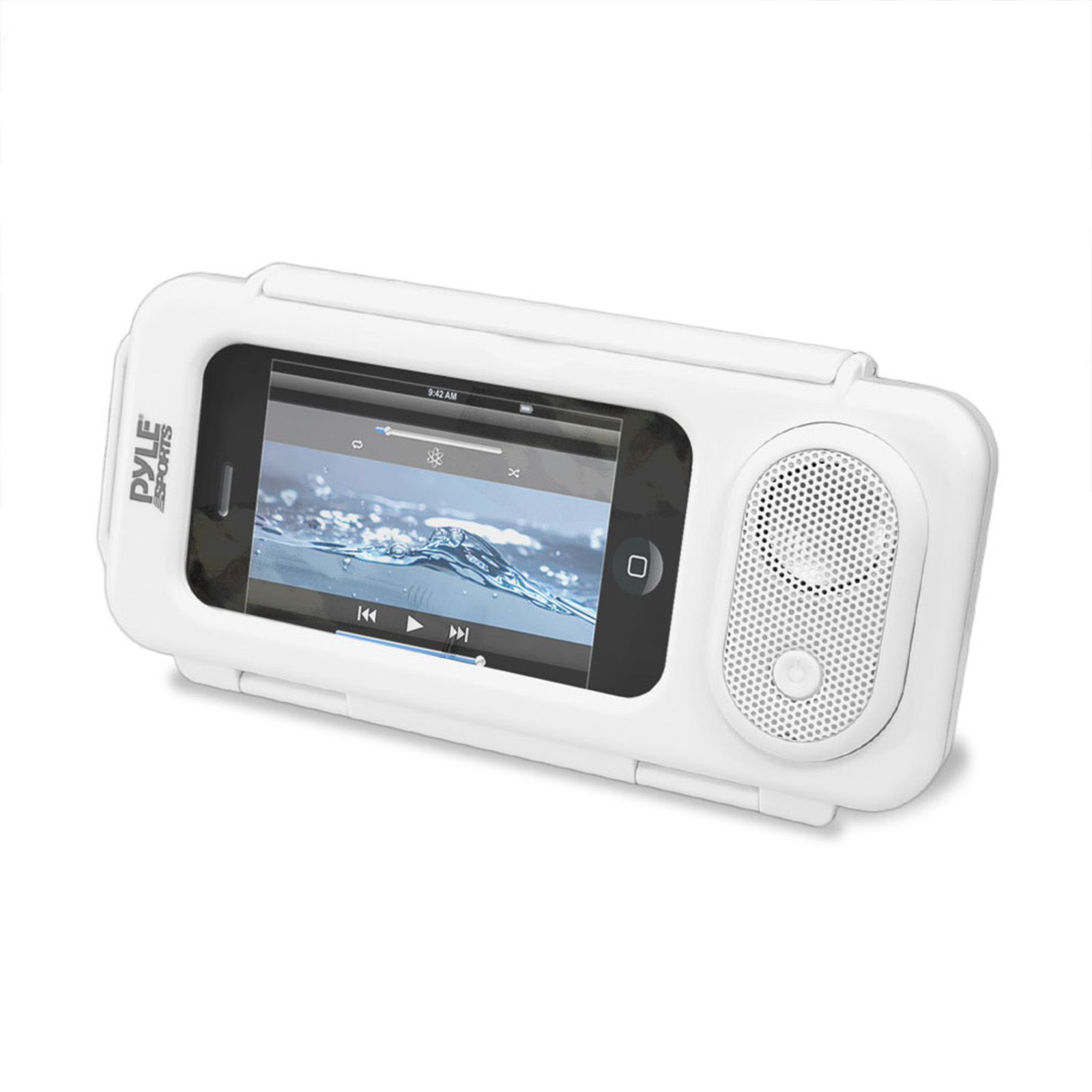Pyle Surf Sound Play Universal Waterproof IOS, iPhone4 & iPhone5 MP3 Player & Smartphone Portable Speaker and Case- White