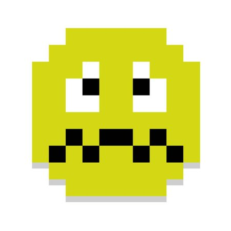 Vector Cute Pixel Cartoon Green Sick Face Print Wall Art By Aratehortua