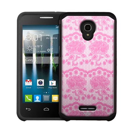 Alcatel OneTouch Allura Hybrid Slim Case - Darling Rose Lace in Orchid Pink