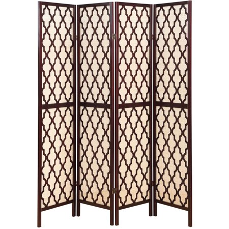 Legacy Decor 4 Panel Wooden Fabric In-lay Screen Room Divider with Decorative Cut Outs, Espresso Color ()