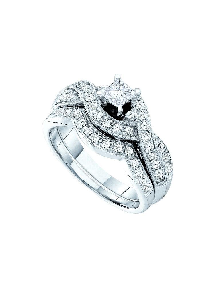 14kt White Gold Womens Princess Diamond Twist Bridal Wedding Engagement Ring Band Set (.75 cttw.) by Mia Diamonds