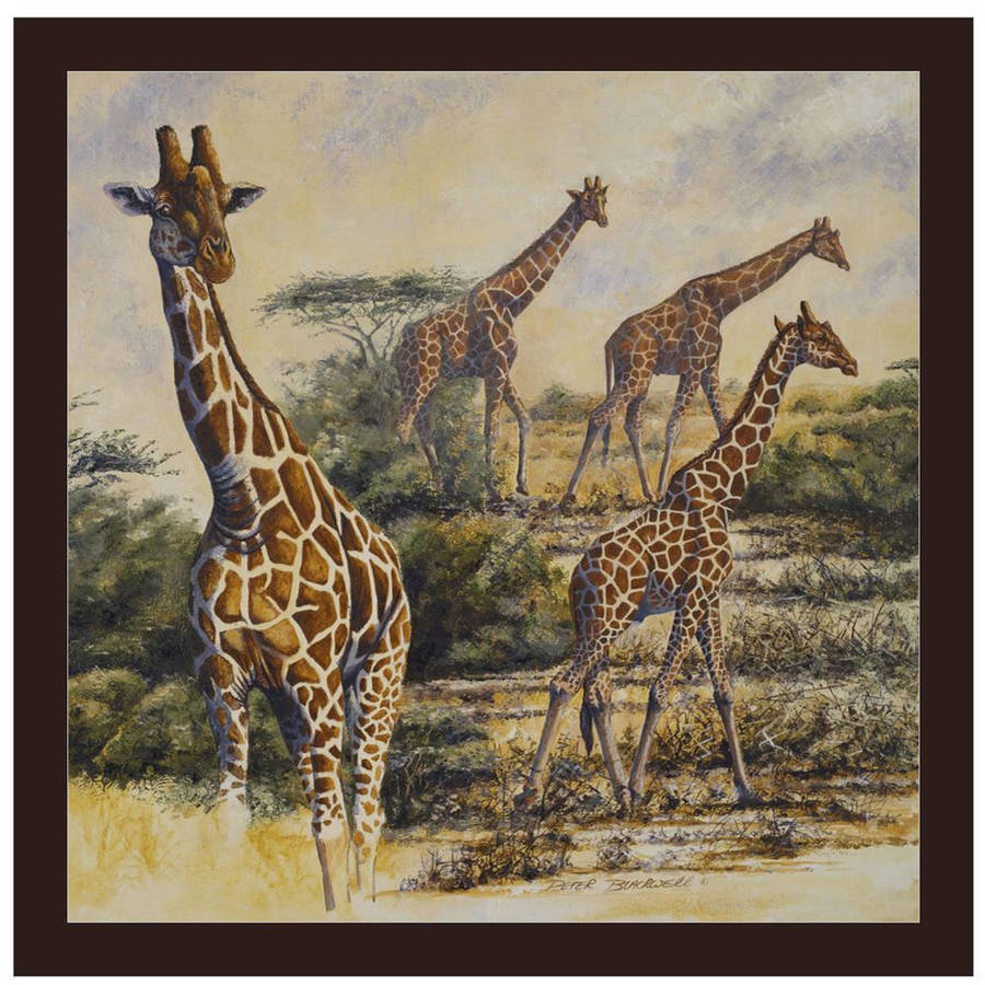Safari III by Eazl Walnut Canvas Image Box