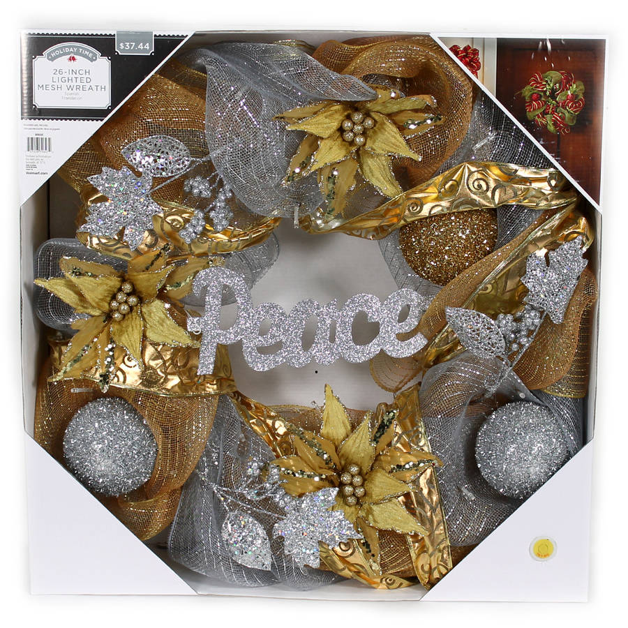 """Holiday Time Christmas Decor 26"""" LED Lighted Gold and Silver Mesh Wreath"""