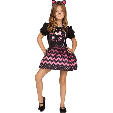 Cat Instant Child Costume, One Size - Pink And Black Cat Costume